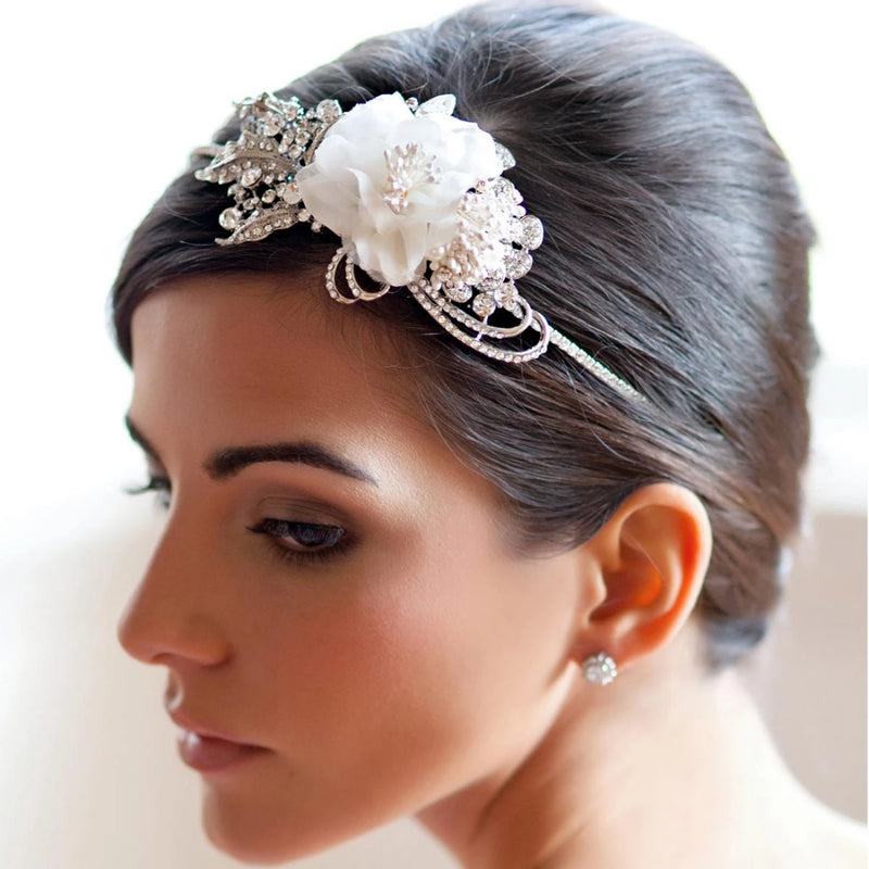 Vintage Rose crystal bridal side tiara with a silk rose flower