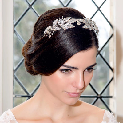 Vintage Wreath Tiara shown in a side chignon hairstyle