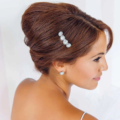 Waterfall of Love Crystal Hair Comb shown on our model bride