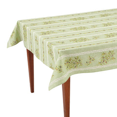 Green Striped Coated Tablecloth