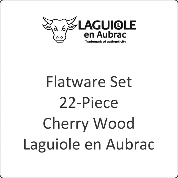 Flatware Set, 22-Piece, Cherry Wood, Laguiole en Aubrac
