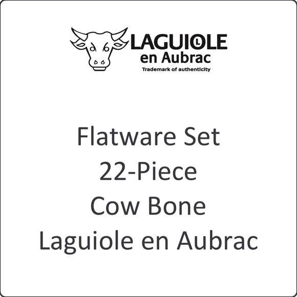 Flatware Set, 22-Piece, Bone, Laguiole en Aubrac