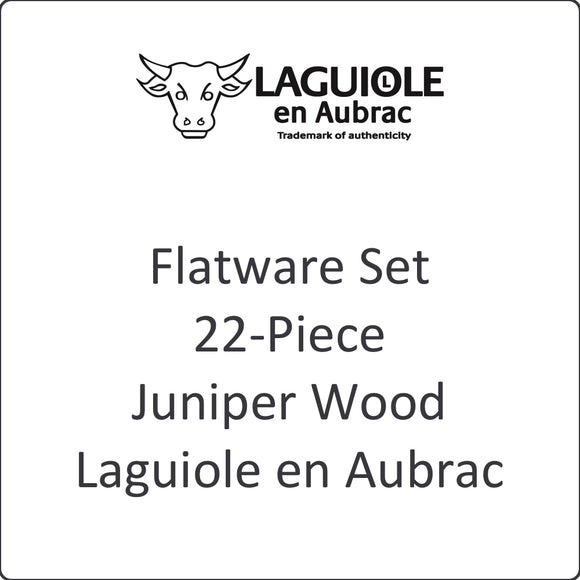 Flatware Set, 22-Piece, Juniper Wood, Laguiole en Aubrac