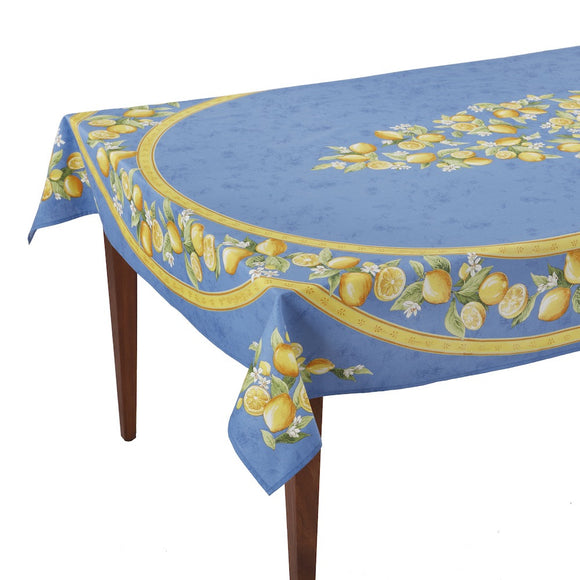 Citrons Bleu Rectangular French Tablecloth
