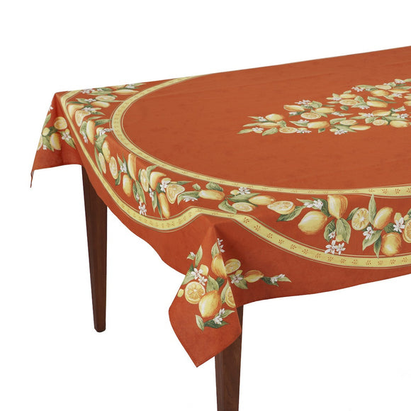 Citrons Orange Rectangular French Tablecloth