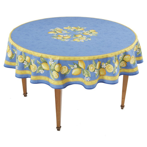 Citrons Bleu Round French Tablecloth