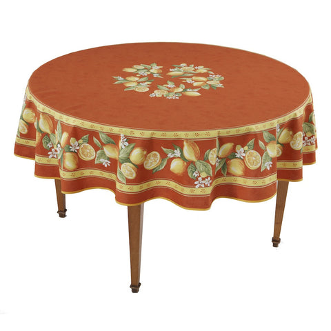 Citrons Orange Round French Tablecloth