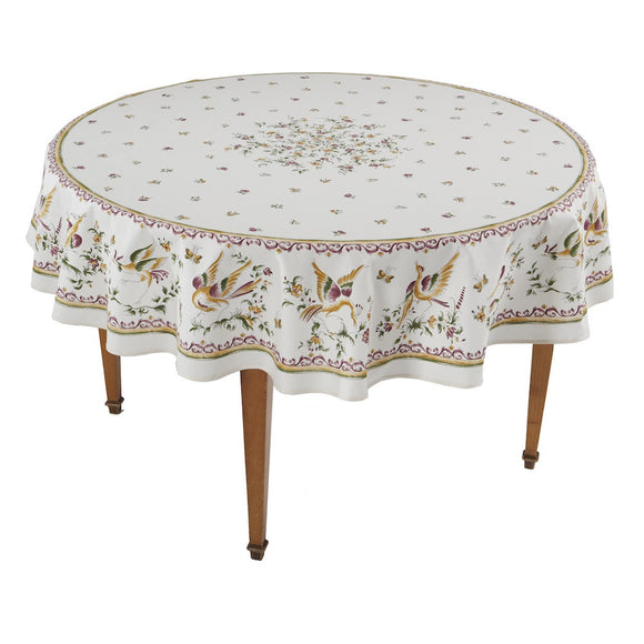 Moustiers Ecru/Rose Round French Tablecloth
