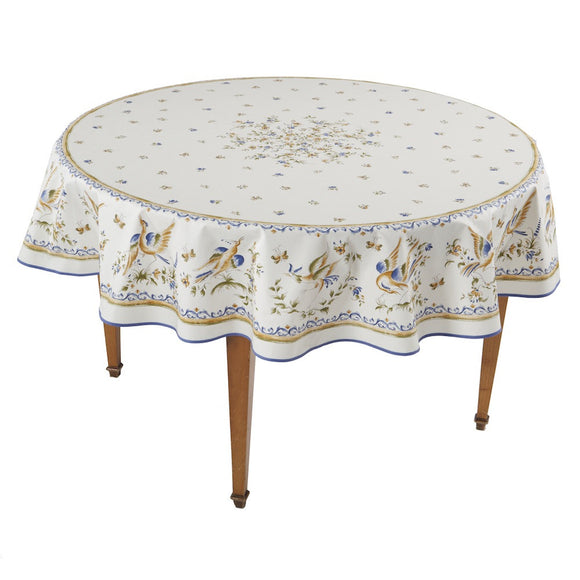 Moustiers Ecru/Bleu Round French Tablecloth