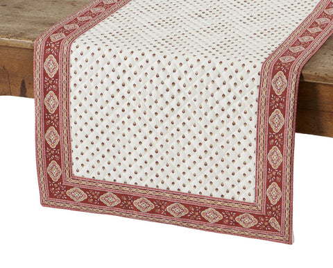 Esterel Ecru/Bordeaux French Table Runner