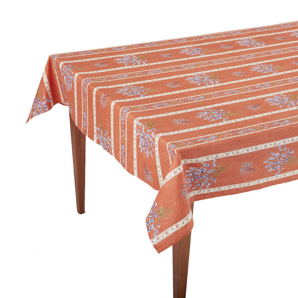 Valensole Corail Striped Rectangular French Tablecloth