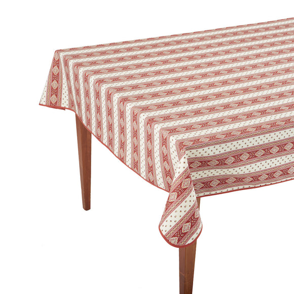 Esterel Ecru/Bordeaux Striped Rectangular French Tablecloth