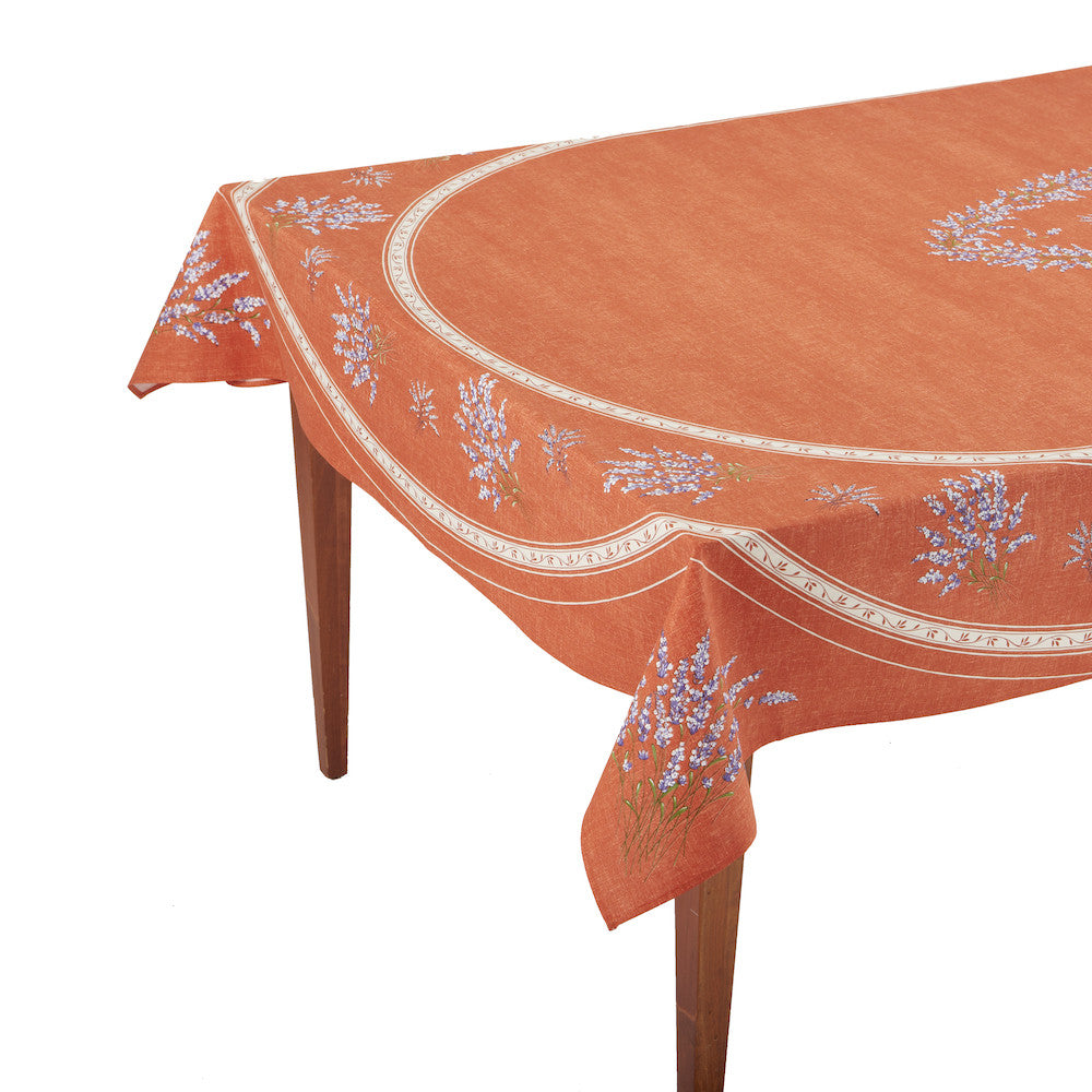 Valensole Corail Rectangular French Tablecloth
