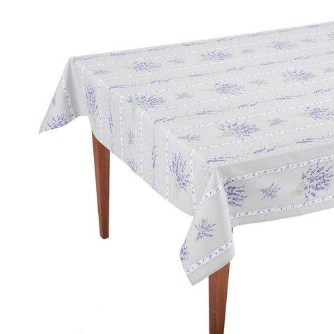 Valensole Gris Striped Rectangular French Tablecloth