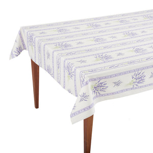 Valensole Ecru Parme Striped Rectangular French Tablecloth