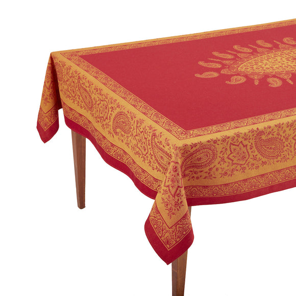 Uzes Rouge Jacquard French Tablecloth
