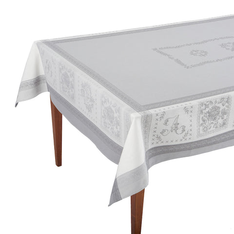Monogramme Gris French Jacquard Tablecloth