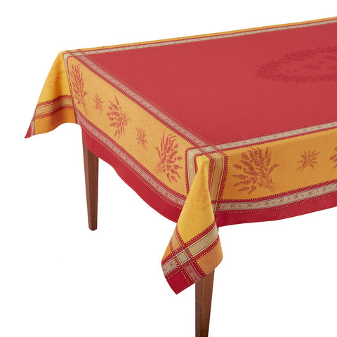 Senanque Rouge/Orange French Jacquard Tablecloth