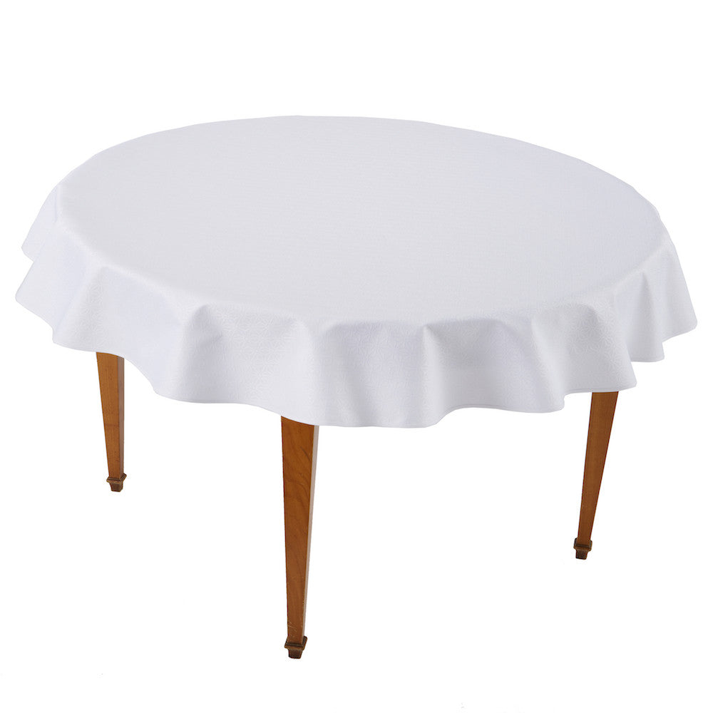 Kyoto White Round Coated Tablecloth