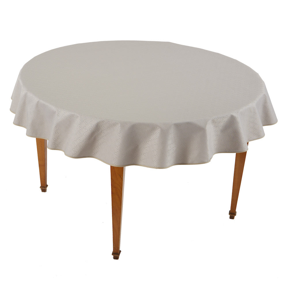 Kyoto Beige Round Coated Tablecloth