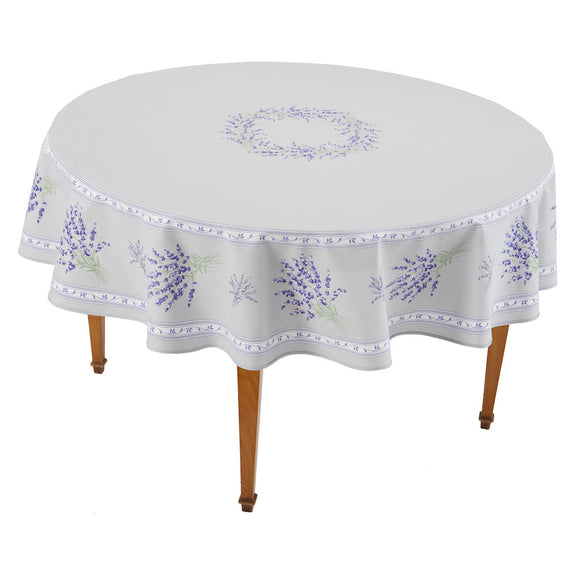 Valensole Gris Round French Tablecloth