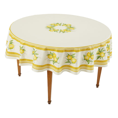 Citron Ecru Round French Tablecloth