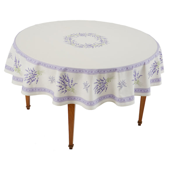 Valensole Ecru Parme Round French Tablecloth