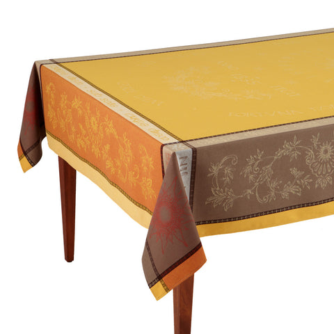 Carpe Diem Jaune/Terre Cuite French Jacquard Tablecloth