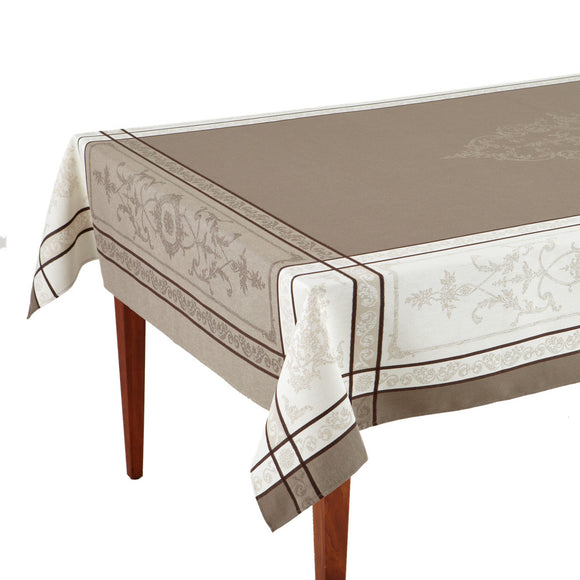 Montmirail Taupe French Jacquard Tablecloth