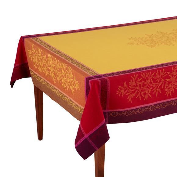 Olive Jaune/Rouge French Jacquard Tablecloth