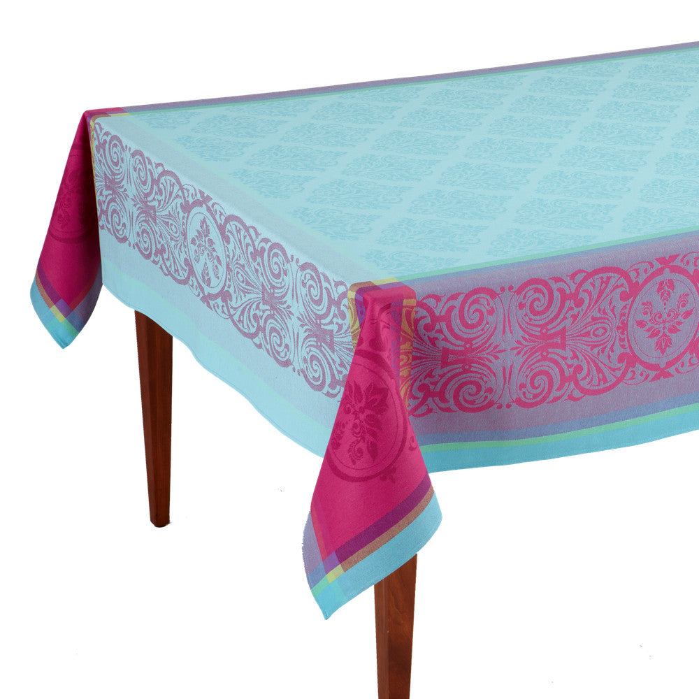 Valbonne Turquoise French Jacquard Tablecloth