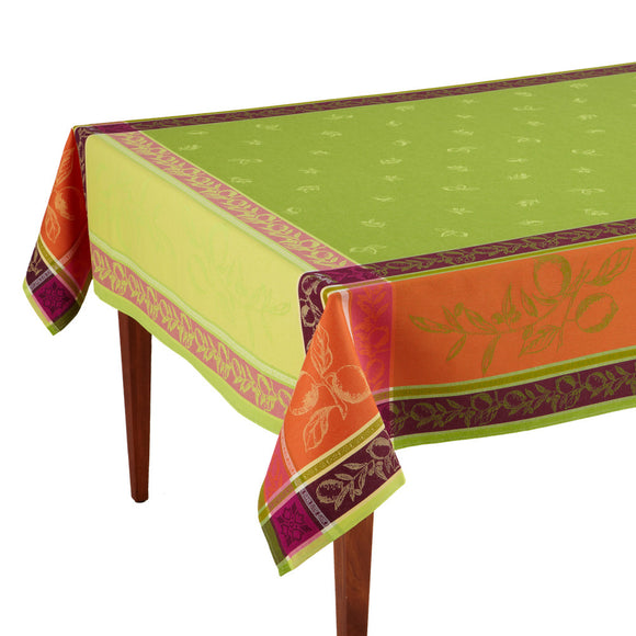 Citronnier Vert Jacquard French Tablecloth