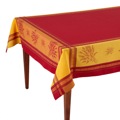 Senanque Rouge French Jacquard Tablecloth