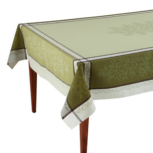 Olive Vert Jacquard French Tablecloth