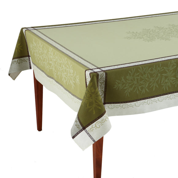 Olive Vert French Jacquard Tablecloth