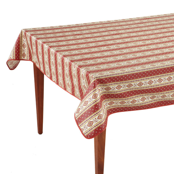 Esterel Terre Cuite Striped Rectangular French Tablecloth