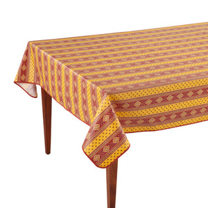 Esterel Safran Striped Rectangular French Tablecloth