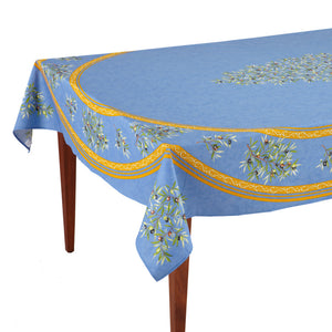 Clos des Oliviers Bleu Rectangular French Tablecloth