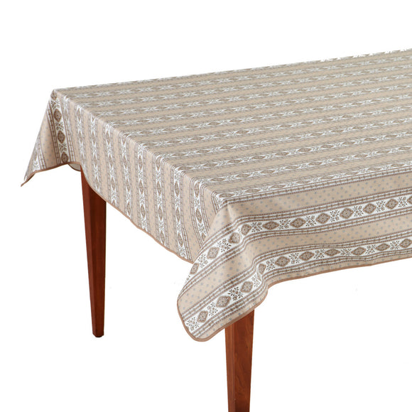 Esterel Naturel Striped Rectangular French Tablecloth