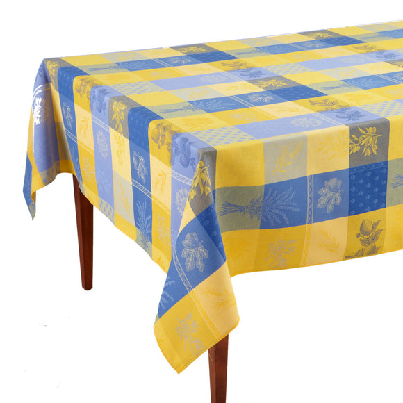 Lourmarin Jaune/Bleu French Jacquard Tablecloth