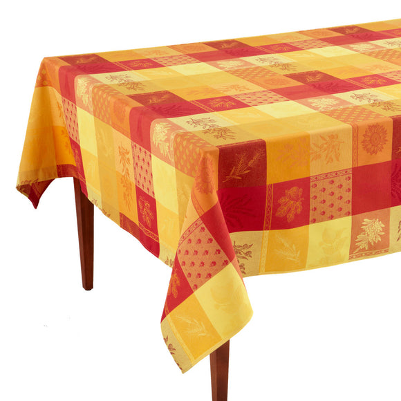 Lourmarin Jaune/Rouge Jacquard French Tablecloth