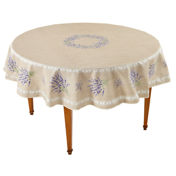 Valensole Beige Round French Tablecloth
