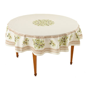Clos des Oliviers Ecru Round French Tablecloth
