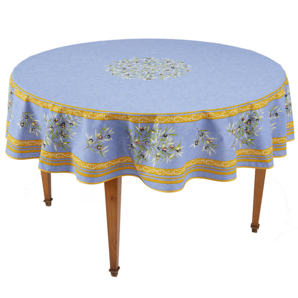 Clos des Oliviers Bleu Round French Tablecloth