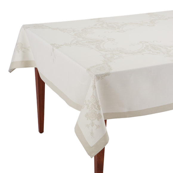 Luxe Versailles Naturel French Jacquard Tablecloth