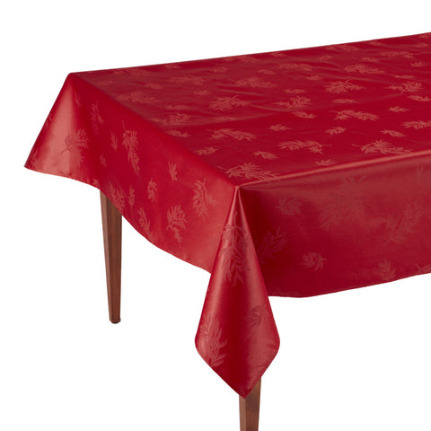 Le Sud Rouge Rectangular Coated Jacquard Tablecloth