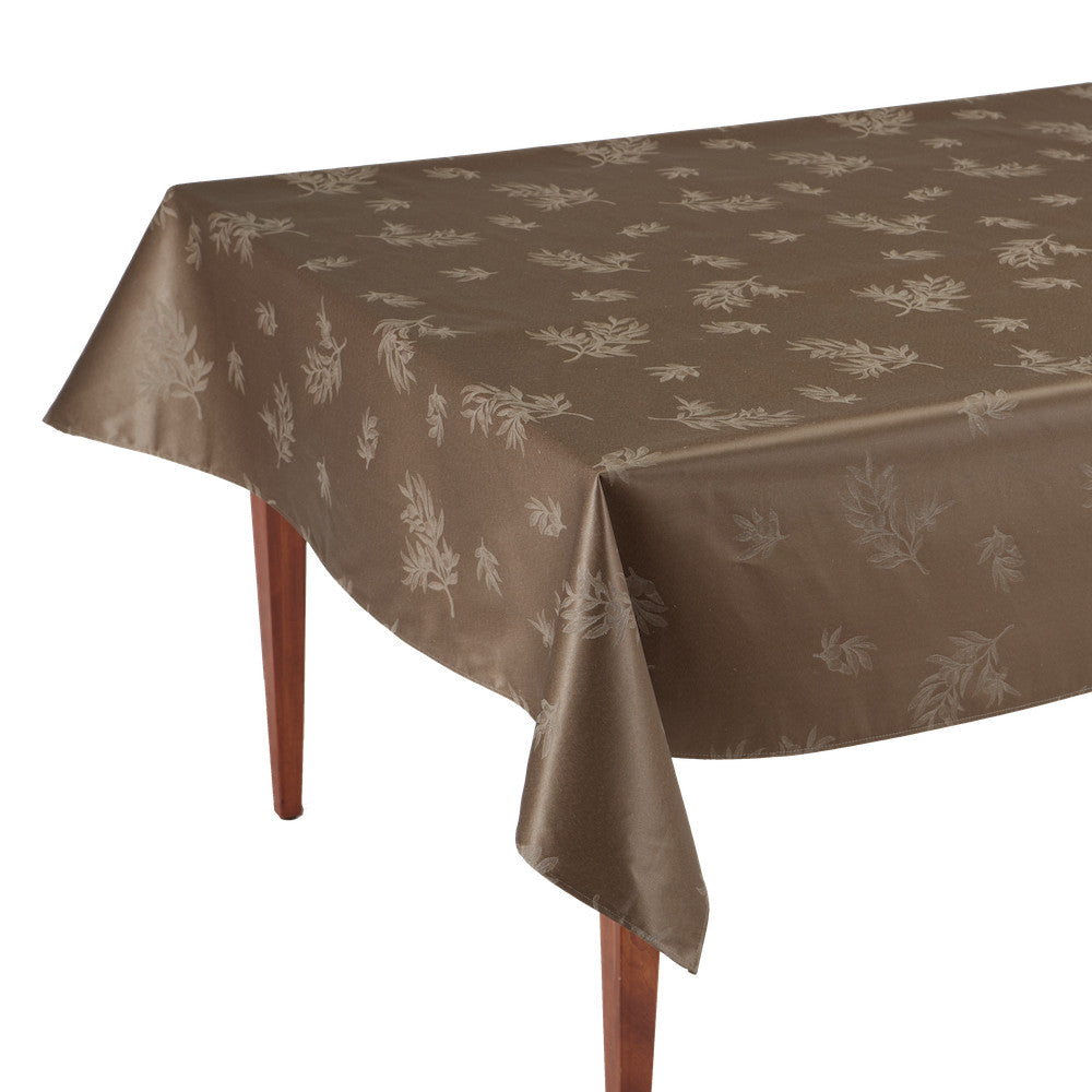 Le Sud Taupe Rectangular Coated Jacquard Tablecloth