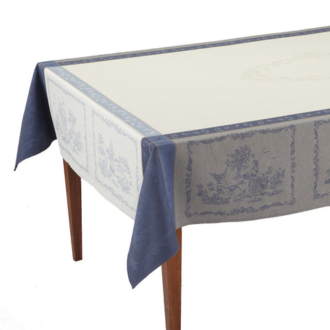 Romance Beige/Bleu French Jacquard Tablecloth