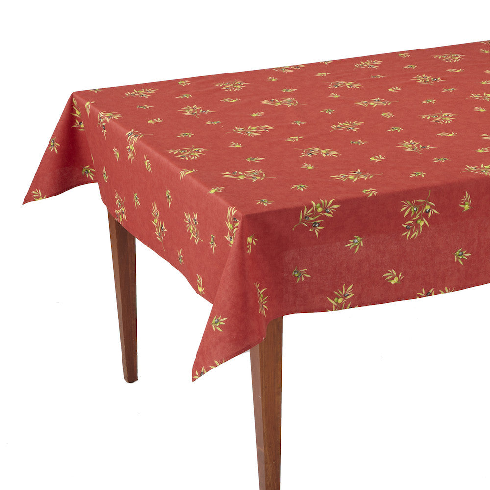 Clos des Oliviers Rouge All Over Rectangular French Tablecloth