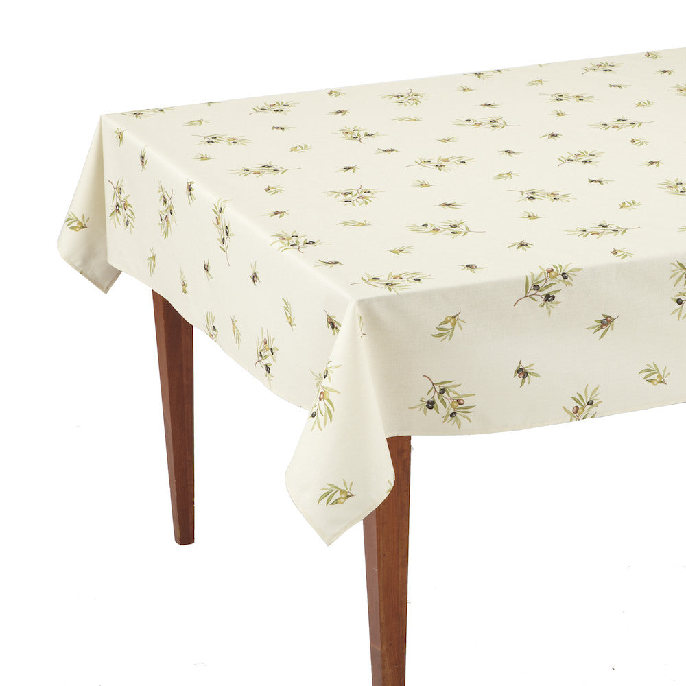 Clos des Oliviers Ecru All Over Rectangular French Tablecloth